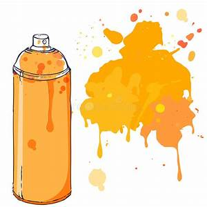 Orange Graffiti Spray Paint Can With Splash Place For Text