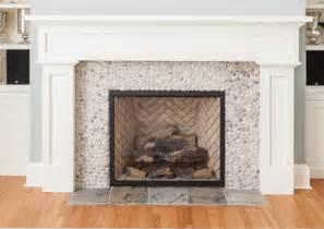 Pebble Tile Fireplace Surround