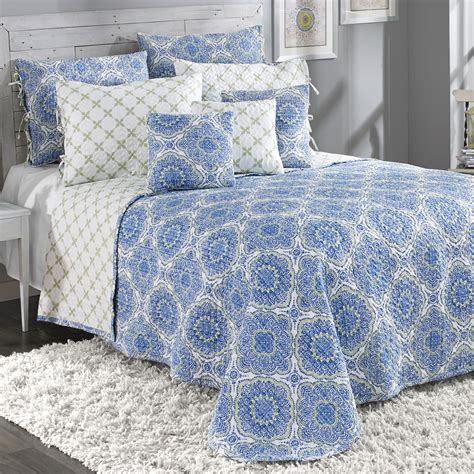 Blue Quilted Bedspread by Blue Medallion Reversible Quilted Bedspread Bedding