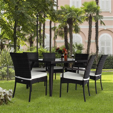 Garden Furniture Chairs by Rattan Garden Furniture Dining Set Patio Rectangular Table