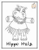 Hippo Coloring Hula Printable Sing Hustle Animals Sheets Cha sketch template