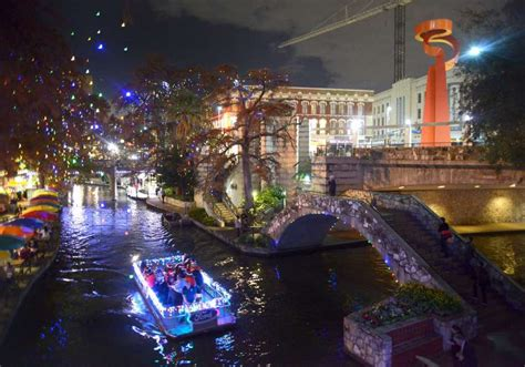 lights differ on downtown river walk and museum