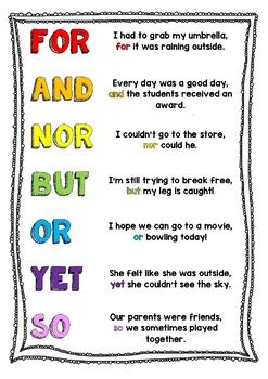 fanboys coordinating conjunctions poster   wil tpt