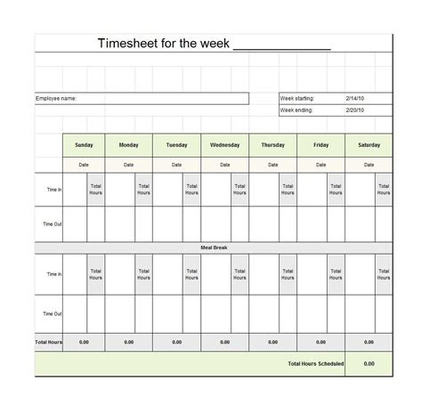 Timesheet With Meal Break Template by 40 Free Timesheet Time Card Templates Template Lab