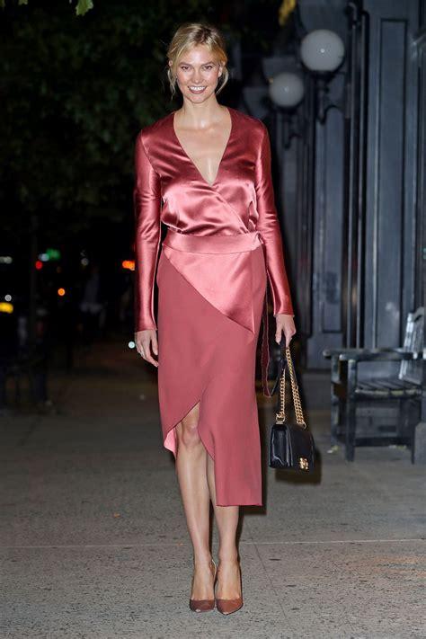 Karlie Kloss Rose Satin Dress Out Nyc