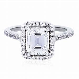 18k White Gold GIA 1.61ct Emerald Cut Diamond Halo ...
