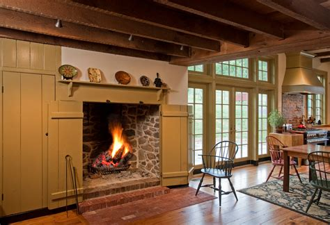 traditional ceiling beams wooden fireplace screen
