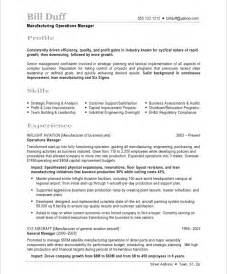 resume objectives for manufacturing manufacturing resume exles best template collection
