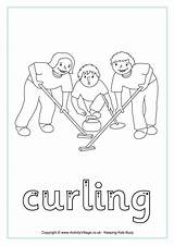 Curling Tracing Coloring Winter Olympics Colouring Finger Biathlon Preschool Sheets Word Activityvillage sketch template