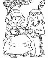 Coloring Pilgrim Printable Indian sketch template