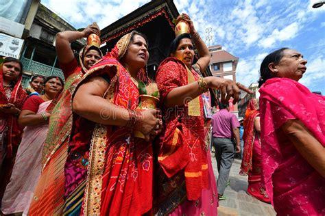 hindu people celebrating  dasain  kathmandu nepal