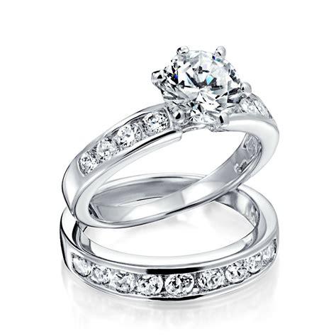 cz wedding ring sets vintage cut cz engagement wedding ring set 1 5ct