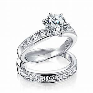 vintage round cut cz engagement wedding ring set 15ct With engagement rings with wedding band set