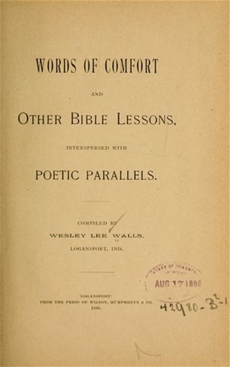 words of comfort words of comfort and other bible lessons interspersed