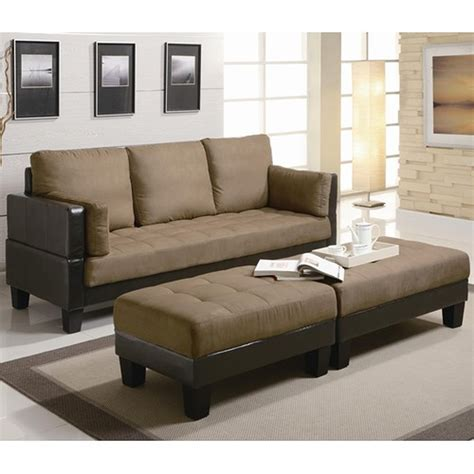 Brown Fabric Sofa Bed And Ottoman Set Stealasofa