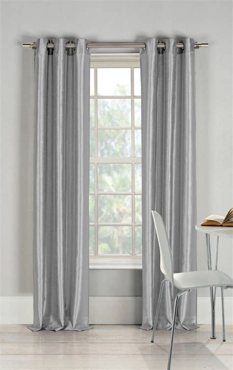 faux silk window treatments curtains drape grommet