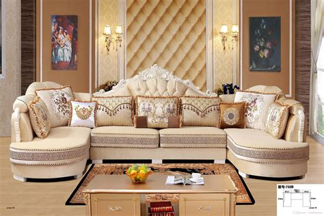 2019 Modern Living Room Fabric Sofa L Shape Sectional Soft