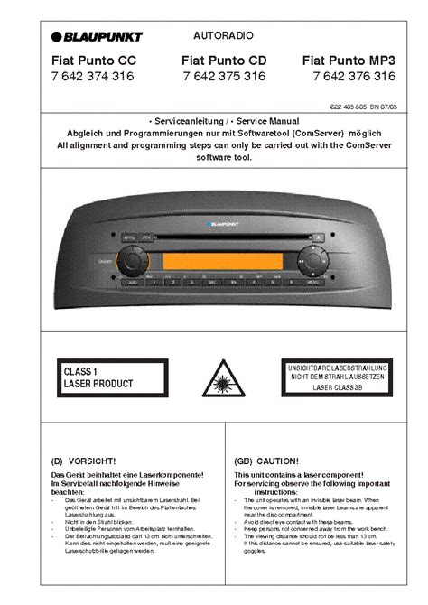 blaupunkt fiat punto cc cd mp  service manual