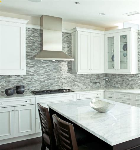 Glass Tile Backsplash White Cabinets  Glass Mosaic Linear
