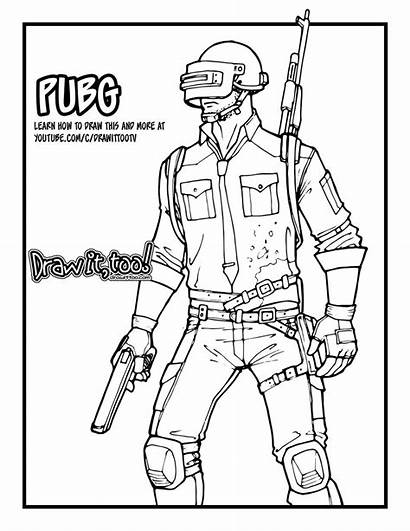 Pubg Coloring Character Draw Drawing Battlegrounds Drawittoo