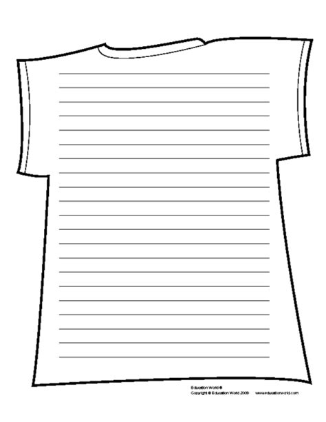 shirt shapebook lined template  education world