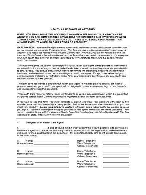 north carolina power  attorney form  templates