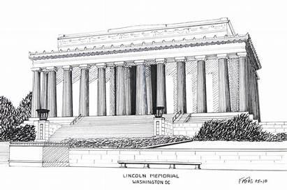 Lincoln Memorial Drawing Ink Pen Washington Drawings