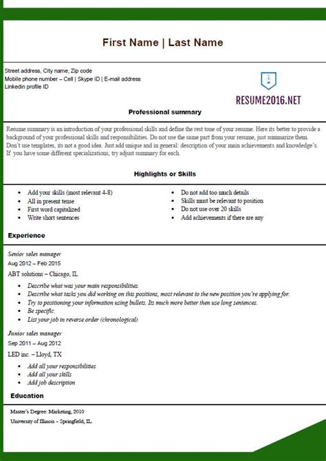 Resume Templates Free by Free Resume Templates 2016