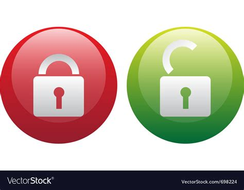Glassy Lock And Unlock Icon Set Royalty Free Vector Image