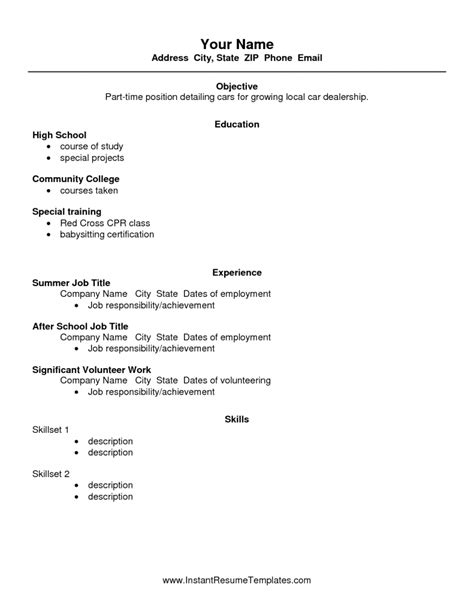 High School Work Resume by High School Resume Templates Health Symptoms And Cure