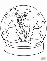 Coloring Globe Snow Christmas Pages Reindeer Printable Drawing Crafts sketch template
