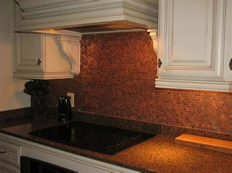 Copper Penny Backsplash Diy : Unique Penny Tile Backsplash 12 X 12