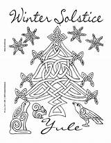 Solstice Coloring Winter Yule Pagan Wiccan Printable Celtic Adult Crafts Happy Tree Witch Colouring Witchcraft Holiday December Coven Books Wicca sketch template