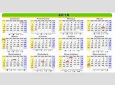 Calendário 2016 com feriados httpwwwwebcidcombr