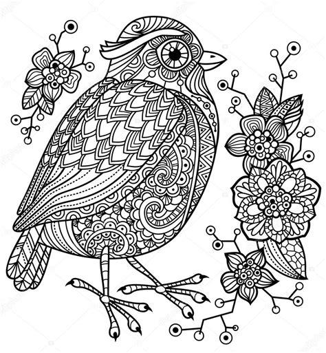 2 Vogels Kleurplaat by Kleurplaat Met Een Vogel En Bloemen Stockvector