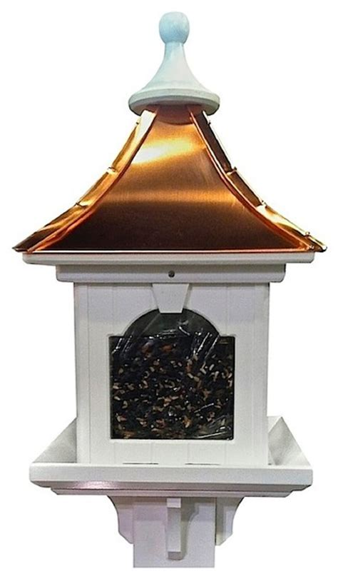 vinyl and copper post mount bird feeder bright copper