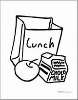 Lunch Bag Clip Coloring Box Drawing Tray Pages Clipart Food Snack Template Abcteach Meal Milk Sketch Sandwich Recess sketch template