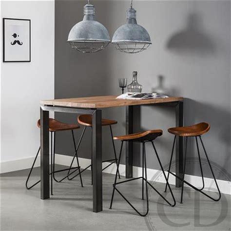 table haute cuisine bois table haute de cuisine industrielle pieds métal sur cdc design