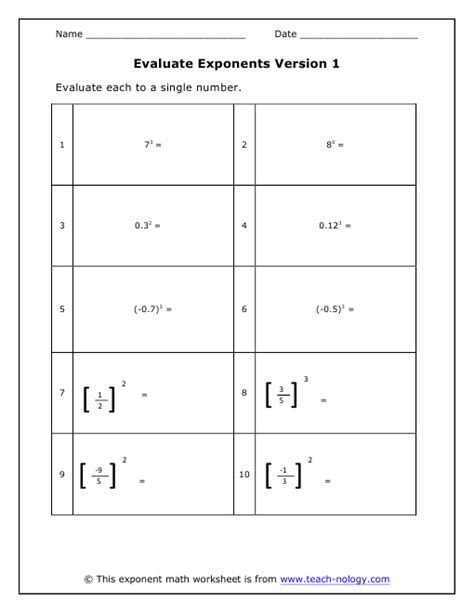 evaluate exponents
