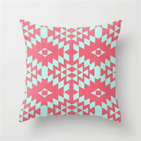 aztec throw pillows aztec inspired pattern teal pink throw pillow by