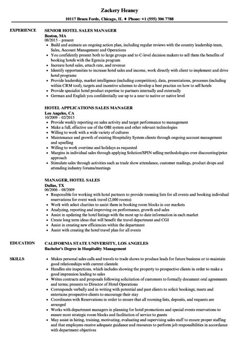 Hotel Resumes by Hotel Sales Manager Resume Resume Sle