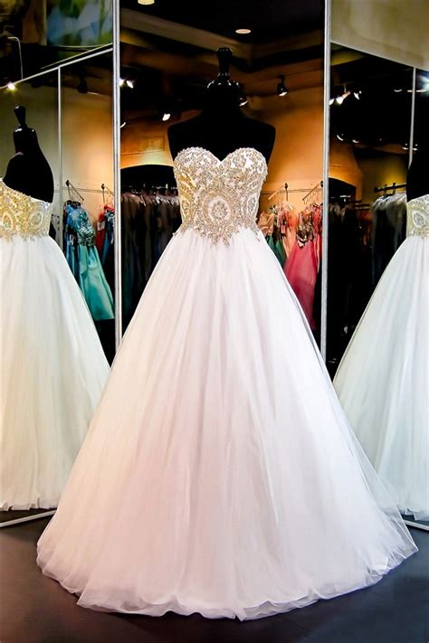 ball gown sweetheart white tulle gold lace applique prom dress