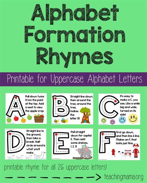 letter formation rhymes alphabet formation rhymes uppercase alphabet poster and 48868