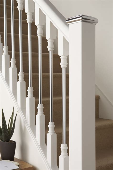 Chrome Banisters by Contemporary Wood Banisters Axxys White Primed With