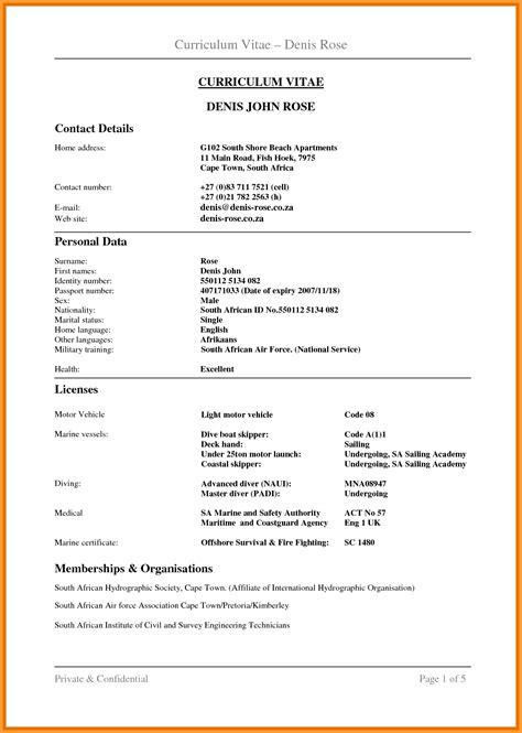 Cv Format Template South Africa by Cv Format South Africa Letter Format Mail