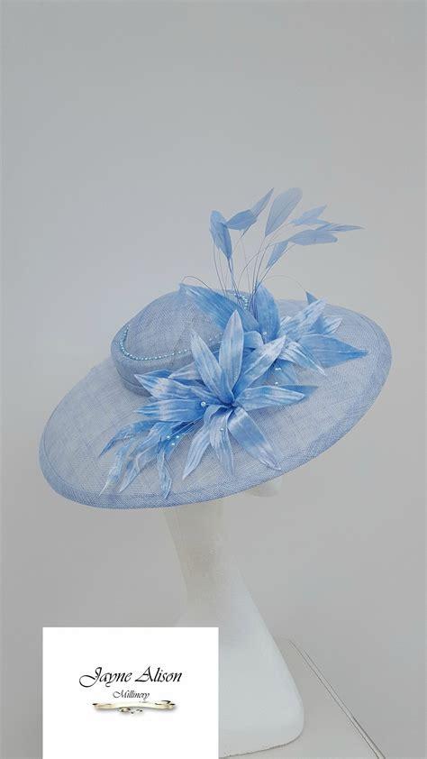coral blue hatinator blue fascinator royal ascot hat