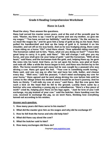 comprehension worksheets level 6 worksheet exle