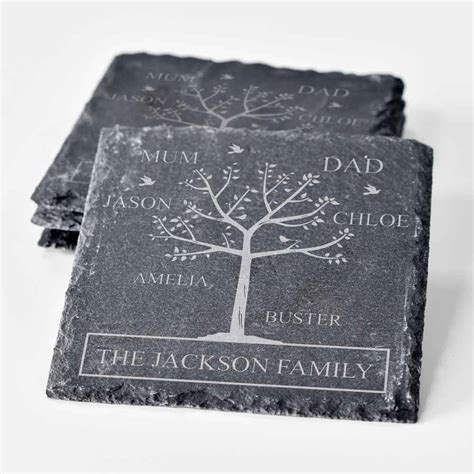 personalised family tree slate coaster set