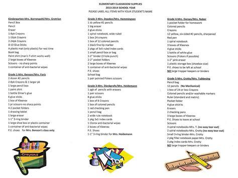 Elementary School Supply List by School Supply List June 2016