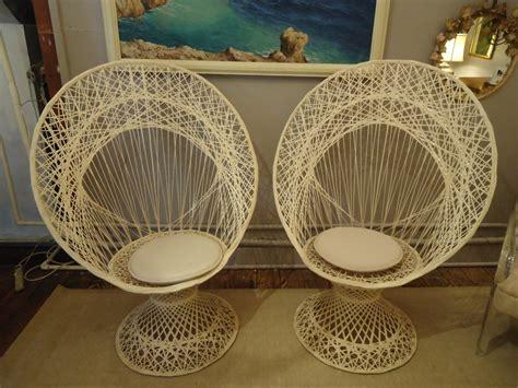 pair  spun fiberglass outdoor peacock chairs  stdibs